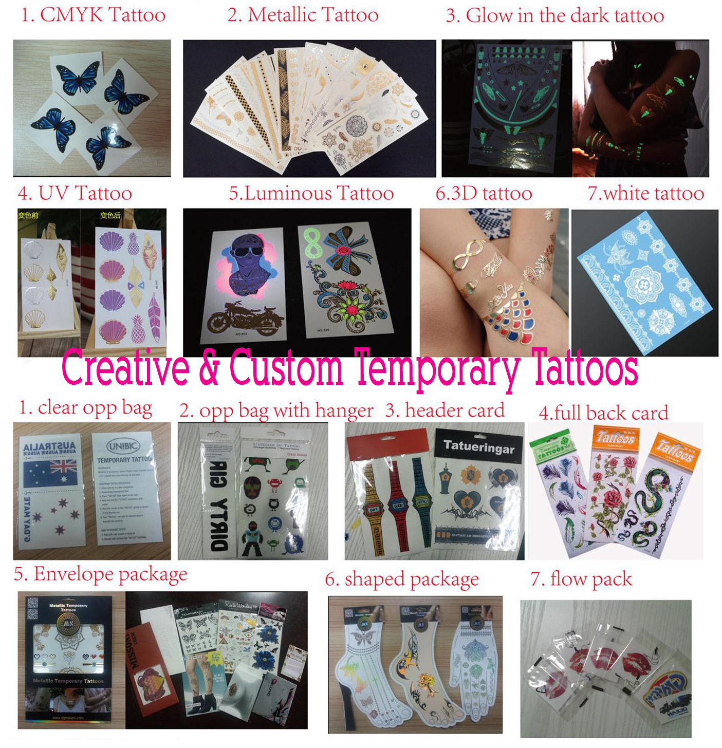 Creative & Custom Temporary Tattoos